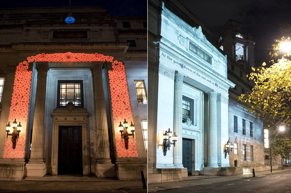Freemasons' Hall lit up for Remembrance Day
