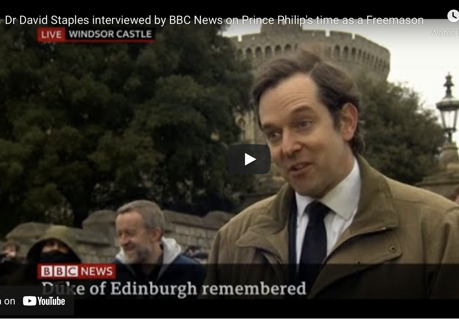 Dr David Staples interviewed by BBC News on Prince Philip's time as a Freemason