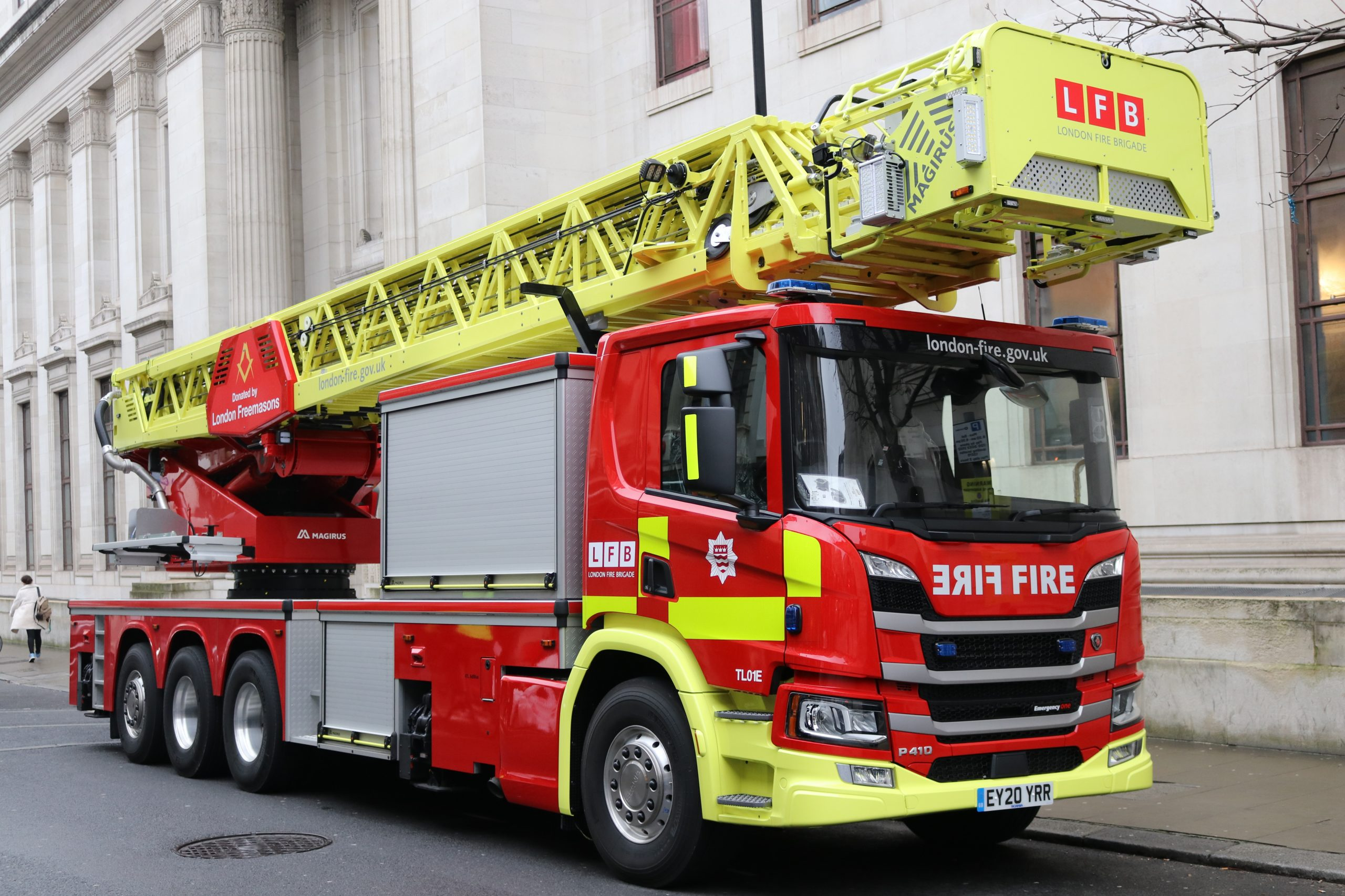 Firefighters Training on UK's Tallest Ladders, Funded by London Freemasons